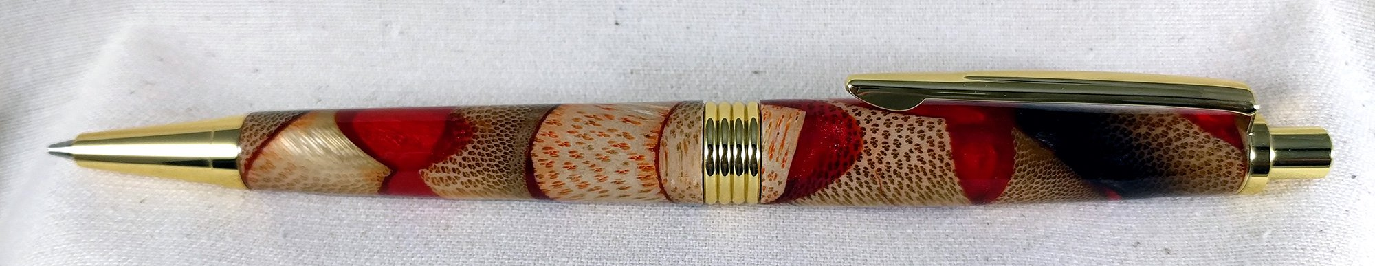Bamboo and Red Resin Pencil
